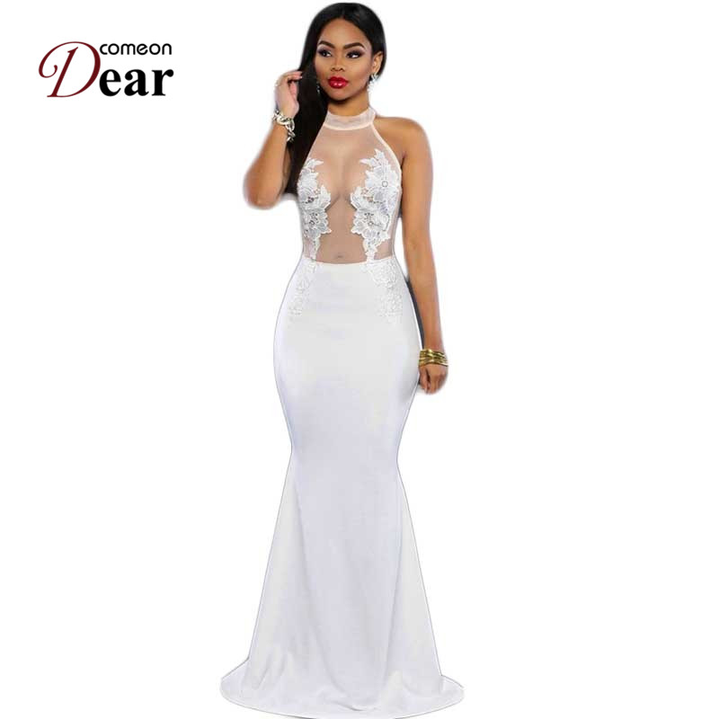 Comeondear Long Maxi Dress Cream White Sleeveless Lace VK1037 Transparent Mesh Applique Dress Party Evening Elegant Robe Femme