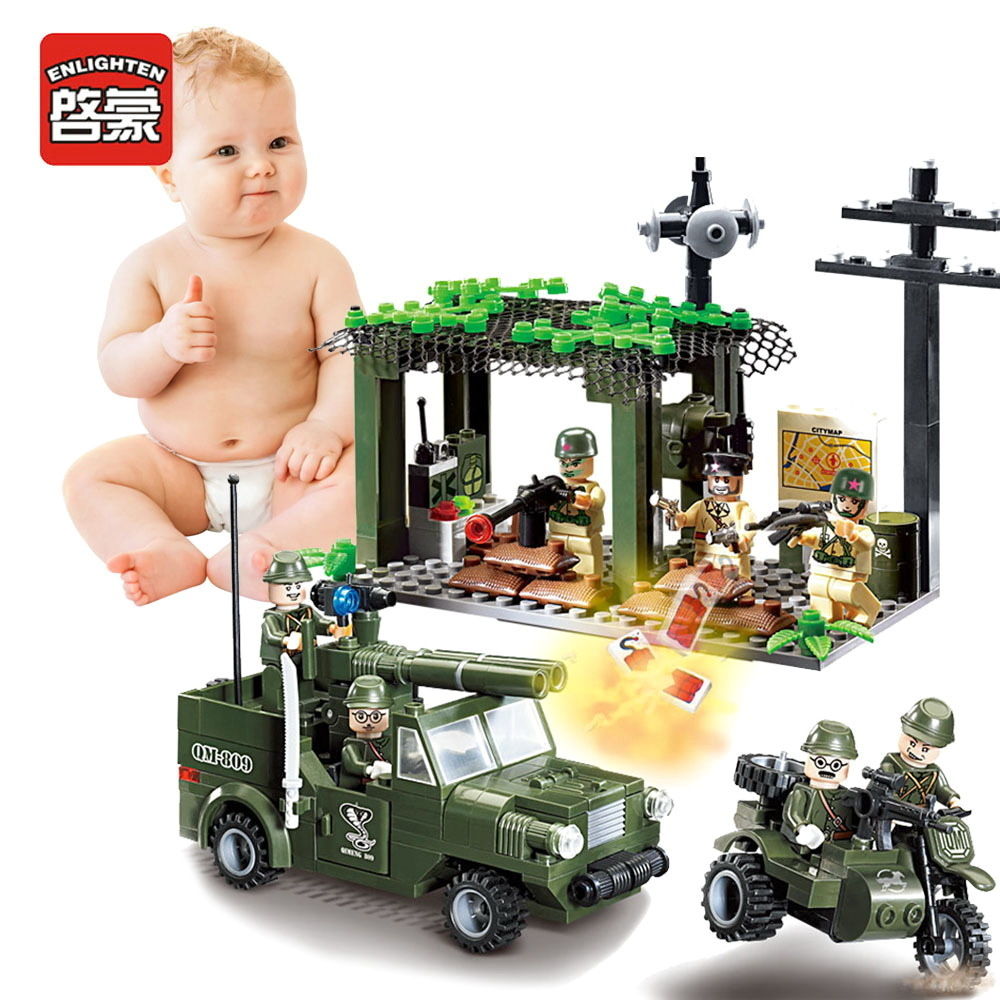 Enlighten Children Toys Military Gifts Soldier War Truck Compatible Building block Military Assembled Building Blocks enlighten building blocks navy frigate ship assembling building blocks military series blocks girls