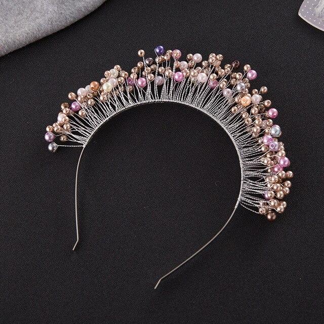 Fashion Colorful Pearls Tiara Crown Wedding Hair Jewelry Accessories Handmade Bridal Tiaras Headpiece Women Prom Headwear