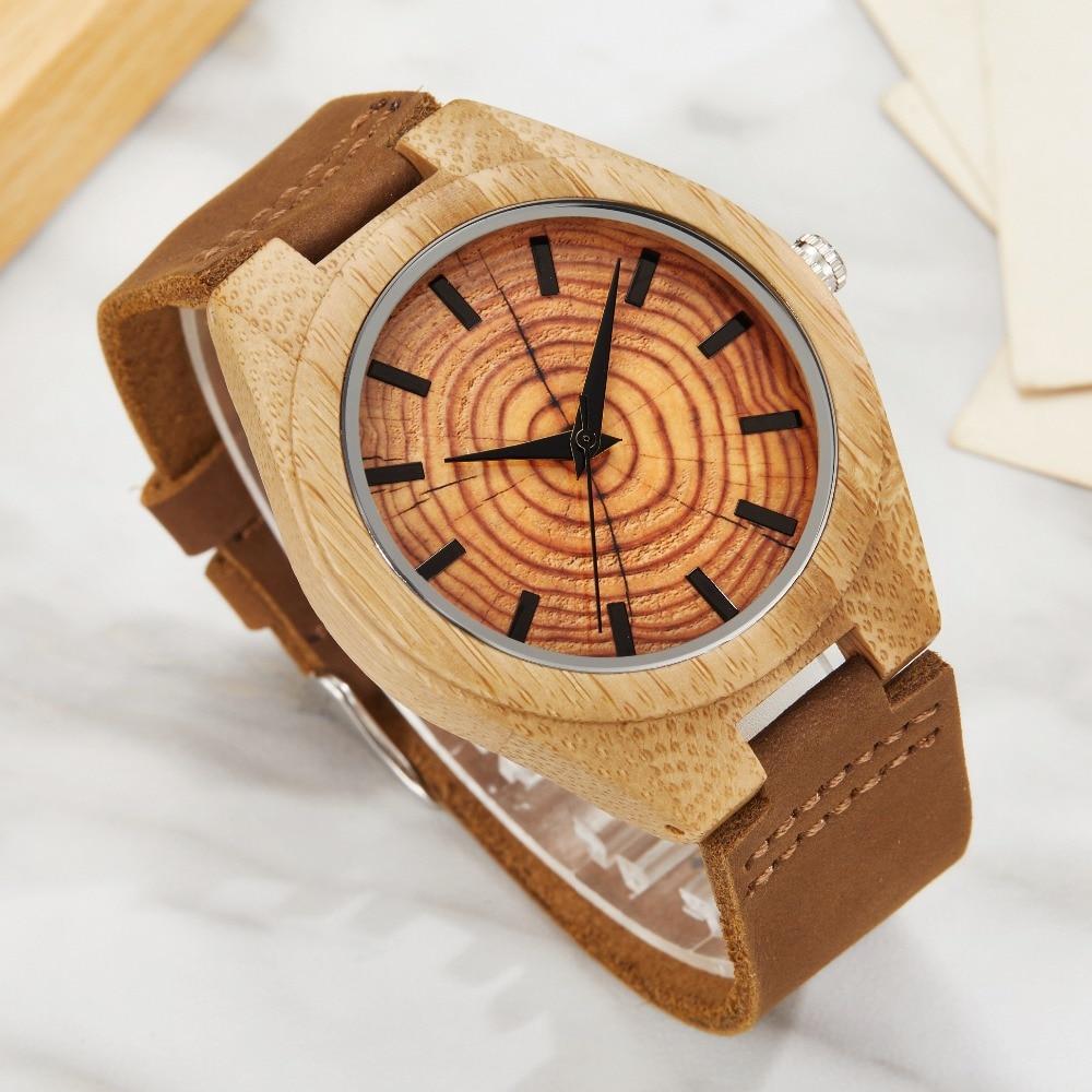 Wood Watch Handmade Men Watches Zebra Wood Watch Unique Green Marble Pattern Quartz Wristwatch Soft Leather Ladies Clock