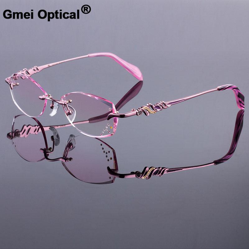 0979bbabdd Women Rimless Glasses Frames Women Titanium Alloy Pink Frame Diamond  Trimming Cut Rimless Glasses With Gradient Tint Lenses-in Eyewear Frames  from Apparel ...