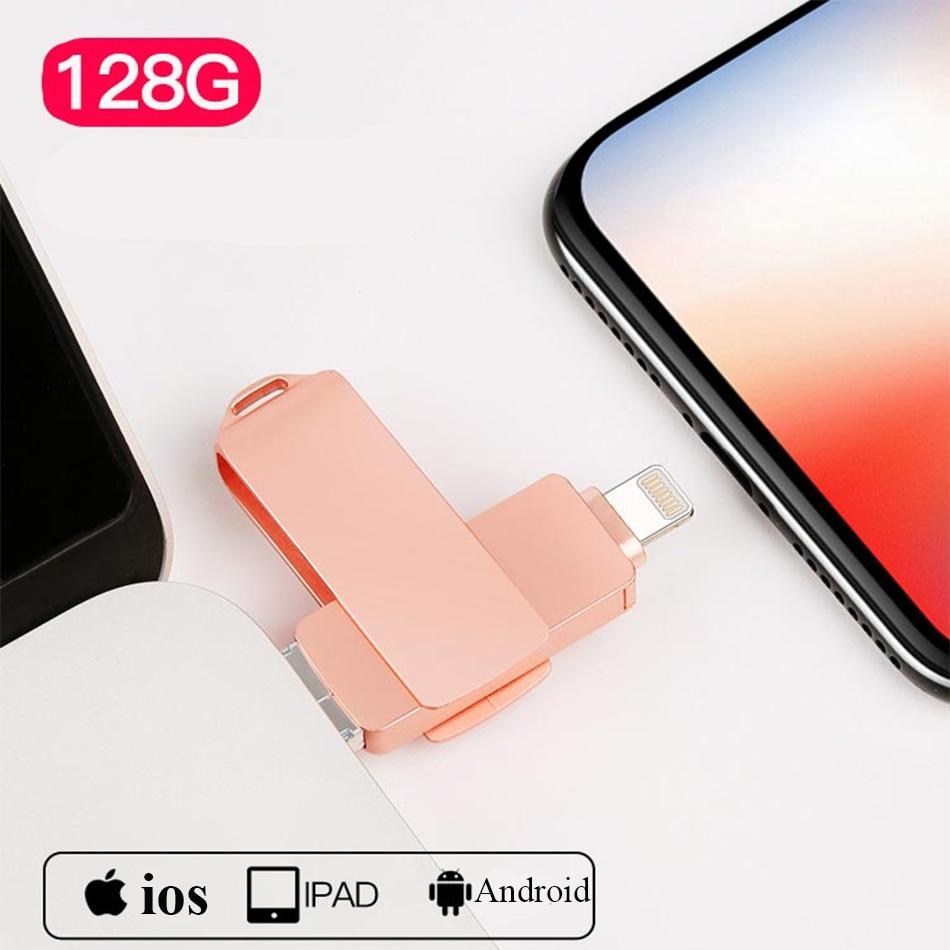 Supersonic 3 In 1 Metal USB Flash Drive USB 3.0 256GB 128GB 64GB 32GB OTG Pen Drive Micro USB Lightning For Iphone 7/7 Plus/8/X