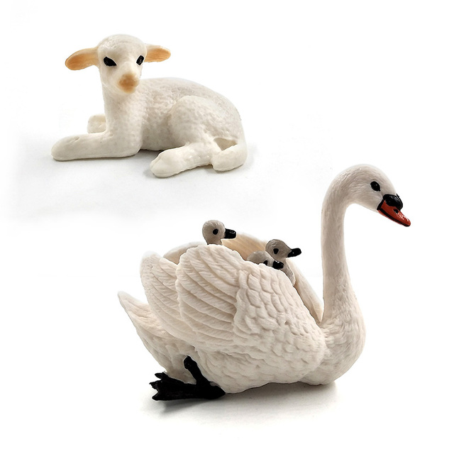 Little Lamb Swan Cock Hen Animal model Rooster Chicken sheep figurine home decor miniature fairy garden decoration accessories 3