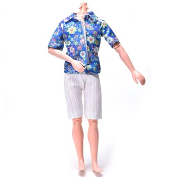 Luxury Flower Print T-Shirt+White Jean Shorts for Summer Clothes for Ken