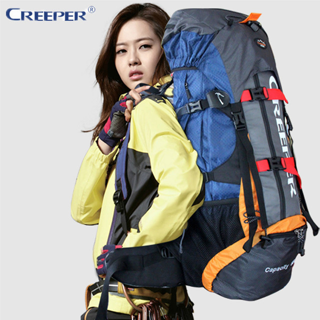 Creeper Outdoor Sport Backpack Hiking Backpack Backpacking Trekking Bag with Rain Cover 60L for Camping Hiking Mountaineering