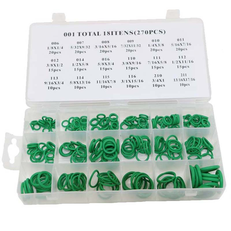 270Pcs 18 Sizes O-ring Kit Green Metric O ring Seals Nitrile Rubber With Box