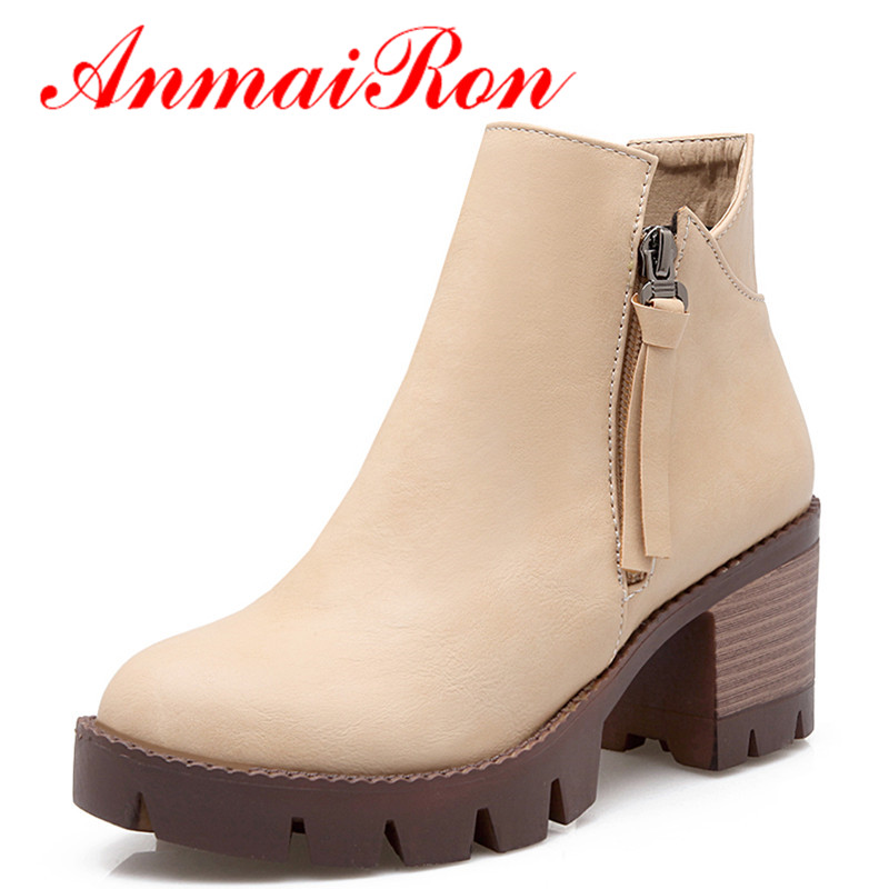 ANMAIRON High Heels Round Toe Black Shoes Woman Zippers Ankle Boots for Women Platform Winter Warm Boots Shoes Large Size34-44 enmayla ankle boots for women low heels autumn and winter boots shoes woman large size 34 43 round toe motorcycle boots