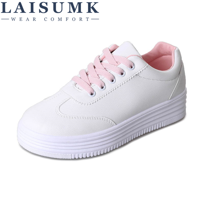 2018 LAISUMK Women Lace-up Fashion Womens Straps Sneakers Embroidery Flower Leather Shoes Vulcanize Shoes Female Girls Footwear
