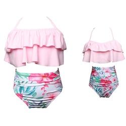 Одинаковые Семейные купальные костюмы для мамы и дочки; бикини; купальник для мамы и дочки; купальные костюмы для маленьких девочек; пляжная... 3