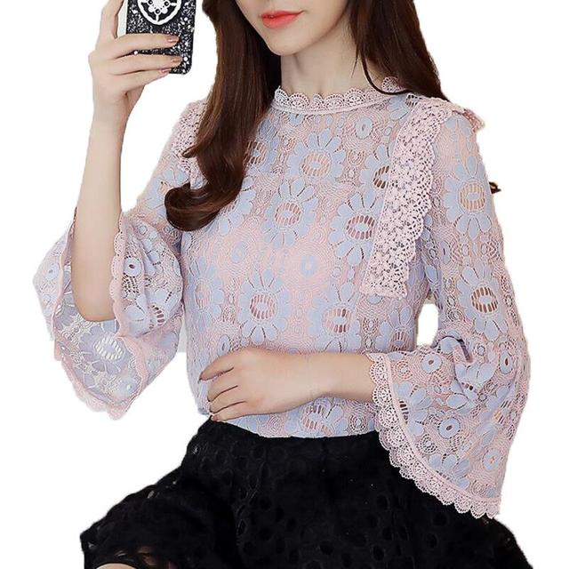 0838bb3c68c 2018 Women Lace Blouse Flare Sleeve Fashion Womens Tops and Blouses Crochet  Lace Chiffon Blusas Femininas