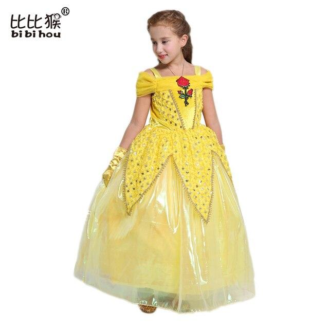 aedfeb63e5bbe6 Bibihou Peuter Meisjes Zomer Belle Jurken Prinses Kostuum Party Kleding  Schoonheid en het Beest Geel Jurk