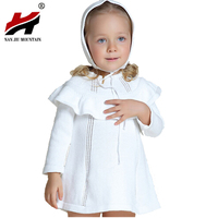 New 2016 Spring Autumn Girl Princess Sweater Dress Knitted Cute White Baby Dress Kids Knee Length