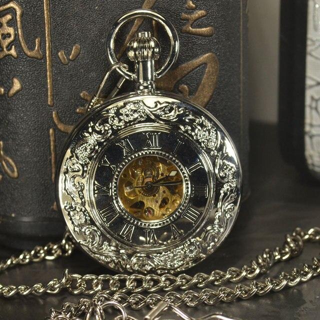 TIEDAN Steampunk Men Antique Luxury Brand Necklace Chain Silver Pocket Fob Watch