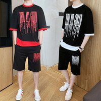 Streetwear Men's Set Printing Male O Neck Fake Two Pieces Half Sleeve T Shirt Shorts Casual 2 Pieces Men's Set