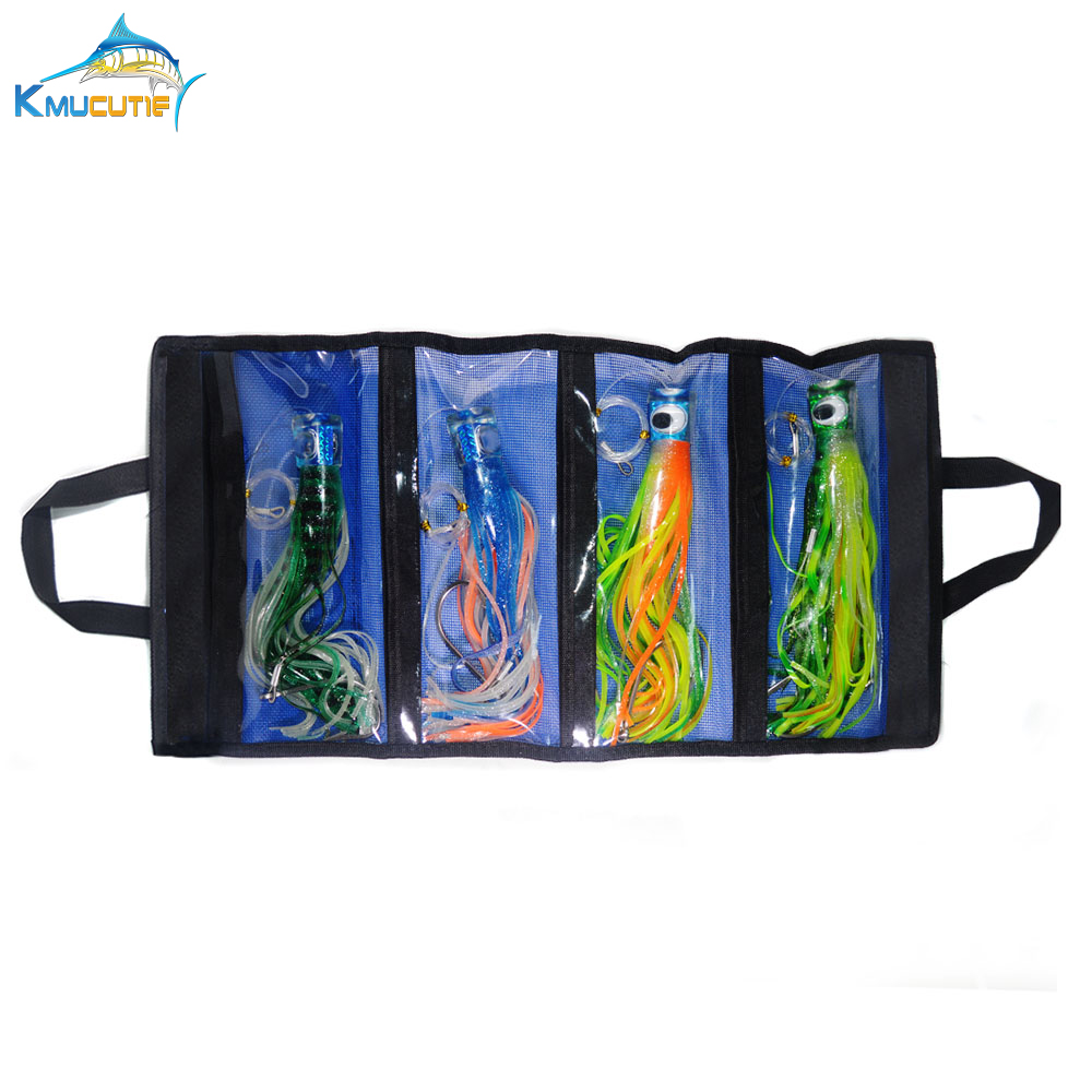 4pcs 11 5 inch resin Head Skirt marlin tuna Trolling lure stainless steel hook portable Washable