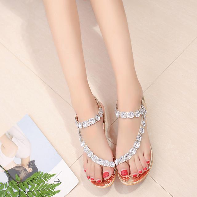 Womens Fashion  Crystal  Flats Sandals