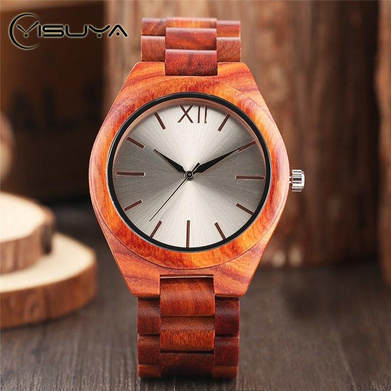 Часы YISUYA мужские  кварцевые  деревянные  с серебристым циферблатом  ручной работы  из бамбука title=
