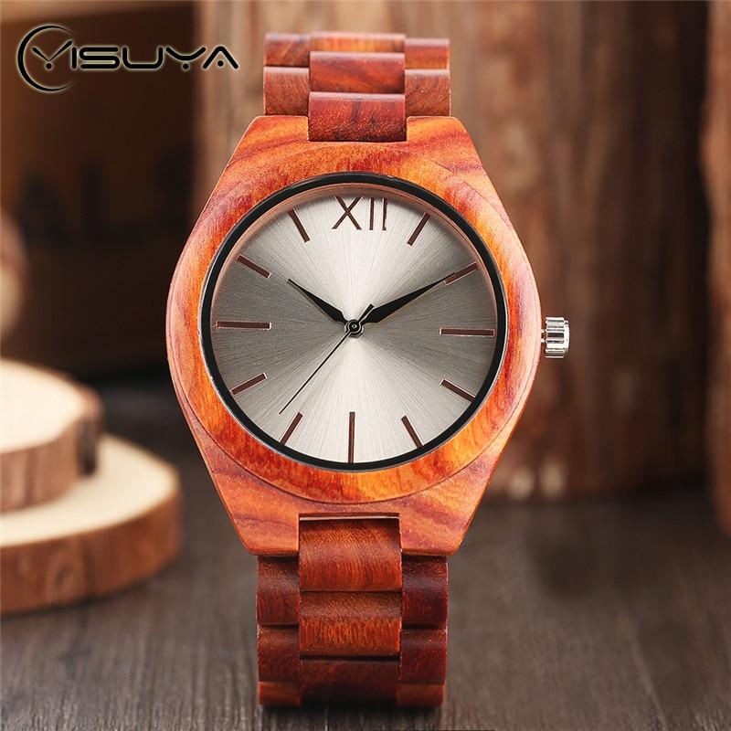YISUYA luxus fa órák kreatív ezüst tárcsás kézzel készített - Férfi órák