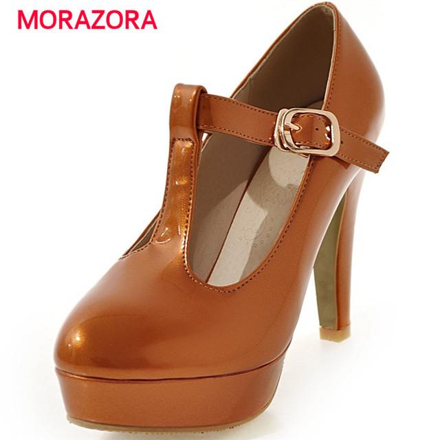 Morazora 2017 contrajo moda mujer zapatos de fiesta de bombas de gran tamaño 31-48 zapatos de plataforma sólida t-correa de cuatro estaciones de tacón alto