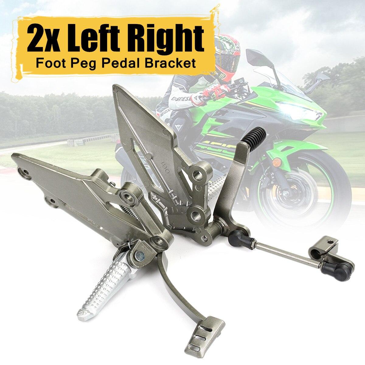 цена на 2x for Kawasaki Ninja 250 Left Right Rear Foot Peg Brake Pedal Footrest Bracket Aluminum Alloy Surface Polishing Galvanized