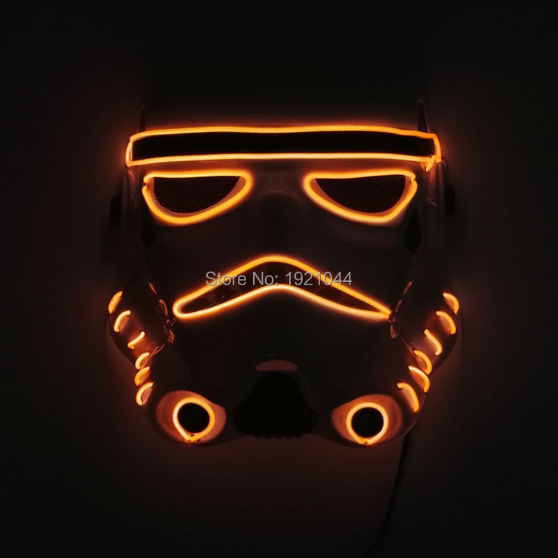 New Arrival Glowing Color Orange EL Wire Neon glow light mask DC-3V Driver Halloween Party Supplies