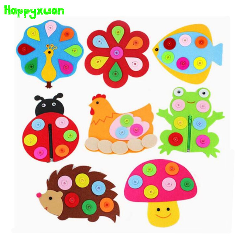 5pcs Lot Zipper Button Learning Felt Fabric Material