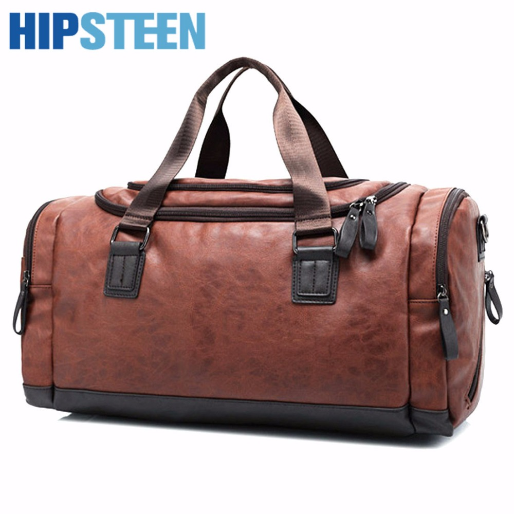 HIPSTEEN Mans PU Leather Bag Male Travel Bags With Large Capacity Tote Duffle Travel Bag Laptop Male Bag Zipper With Strap