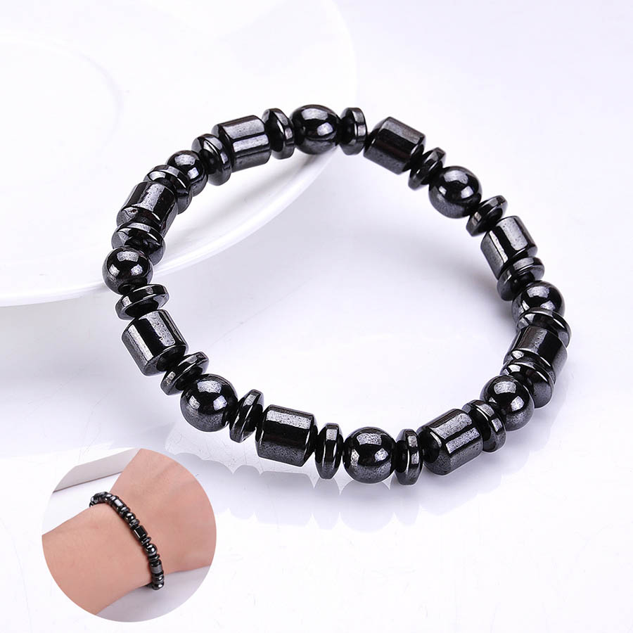 Black Magnetic Hematite Bracelet Therapy Healthy Unisex bangle Spring Chain