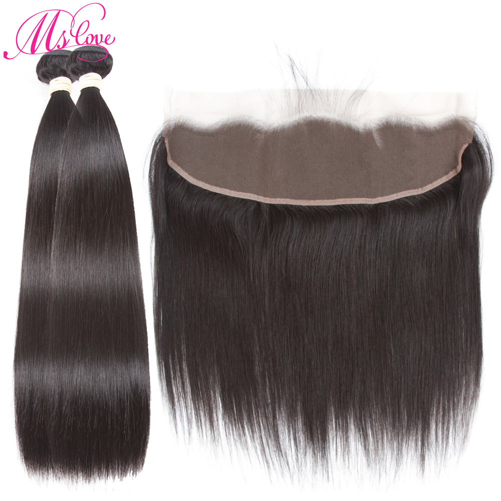 Mslove Hair Straight Frontal With 2 Bundles Indian Hair Bundles With Closure Human Hair Bundles With
