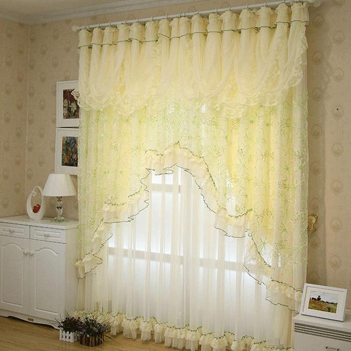 Yellow Korean Style Lace Ruffled Curtains Cortinas Para Sala Window Valance Shade Cloth Tulle