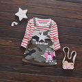 2017 Army Green Baby Girls dress Sport Clothing Cartoon Print long sleeve Girl baby clothes casual sports dresses princess dress