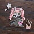 2017 verde del ejército de los bebés dress sport ropa impresión de la historieta de manga larga niña ropa de bebé deportes casual vestidos de princesa dress