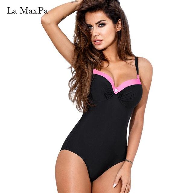 La MaxPa бикини купальники женщин 2018 купальник женский сплошной черный одна часть бикини набор девочек пляжное платье купание костюм отжимать