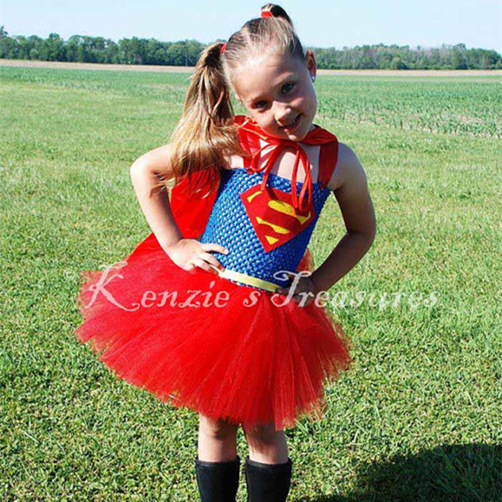 Superman Girl Dress Captain America Batman Wonder Woman Cosplay Tutu Halloween Costume Kids Knee Length PT61