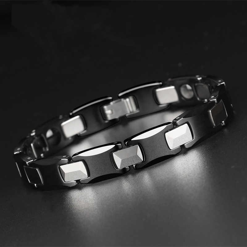 TrustyLan zdrowie magnetyczna bransoletka mężczyźni stal wolframowa biżuteria czarne ceramiczne bransoletki dla kobiet Man bransoletka prezenty dla niego