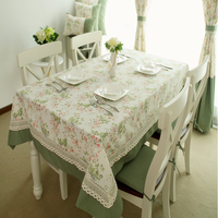 Fashionable Cotton European Style Embroidery Rectangle Grid Tablecloth Cover