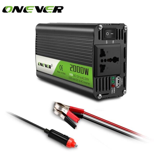 Onever Convertidor de potencia de voltaje para coche, 2000W, CA de 12V a 220V, con protección de circuito para reproductores de DVD, aspiradora para coche