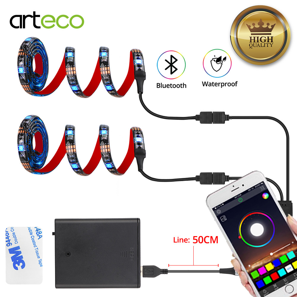 Bluetooth RGB <font><b>LED</b></font> <font><b>Strip</b></font> Set <font><b>Battery</b></font> <font><b>Operated</b></font> <font><b>LED</b></font> <font><b>Strip</b></font> For Bicycle 5050 1M 2M Bluetooth Controller USB Powered Smart APP Control image