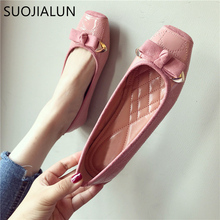 SUOJIALUN Plus Size35-40 Women Flats Shoes 2018  Autumn Woman Slip On Loafers Square Toe Butterfly-knot Ballet Flats Lady Shoes