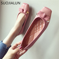 SUOJIALUN Plus Size35 40 Women Flats Shoes 2018 Autumn Woman Slip On Loafers Square Toe Butterfly knot Ballet Flats Lady Shoes