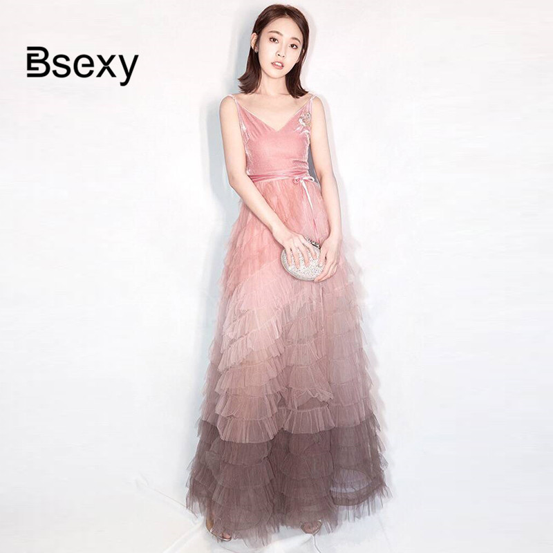 Vestidos Rockabilly Vintage Sexy V neck Spaghetti Strap Gradient Gown Long Maxi Dress Women Velvet Mesh Floor Length Party Dress image