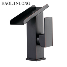 BAOLINLONG News Antique Styling Brass Deck Mount Bathroom Faucets Vanity Vessel Sinks Mixer Basin Waterfall Faucet Tap
