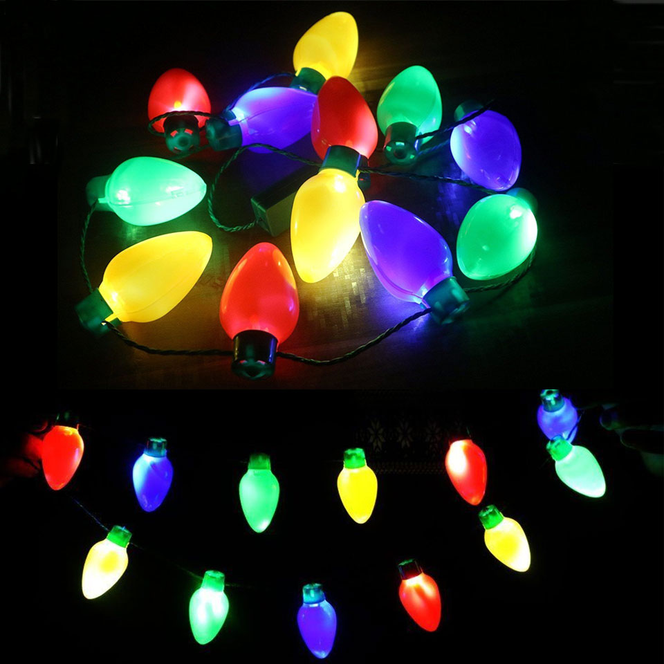 LED Christmas Lights Necklace Light Up Bulb Colorful For Halloween Wedding Party Celebration Favors Lamp 12 LEDs With Line
