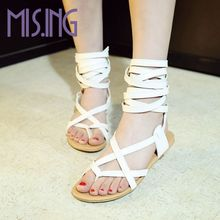 New arrivals women shoes fashion Gladiator Casual Lace-Up sandals Soft Leather Cross-tied Summer flats sandal boots size 34-47