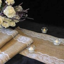 275*35cm Burlap Ivory Lace Hessian Table Runner