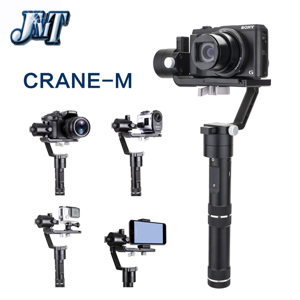 JMT Zhiyun Crane M 3-axis Handheld Video Camera Stabilizer Gimbal for Mirrorless DSLR Support 650g for GoPro Smartphone bestablecam h4 rtf brushless handheld encoder mirrorless digital camera gimbal gyro stabilizer for gh3 gh4 a7s nex5 bmpcc