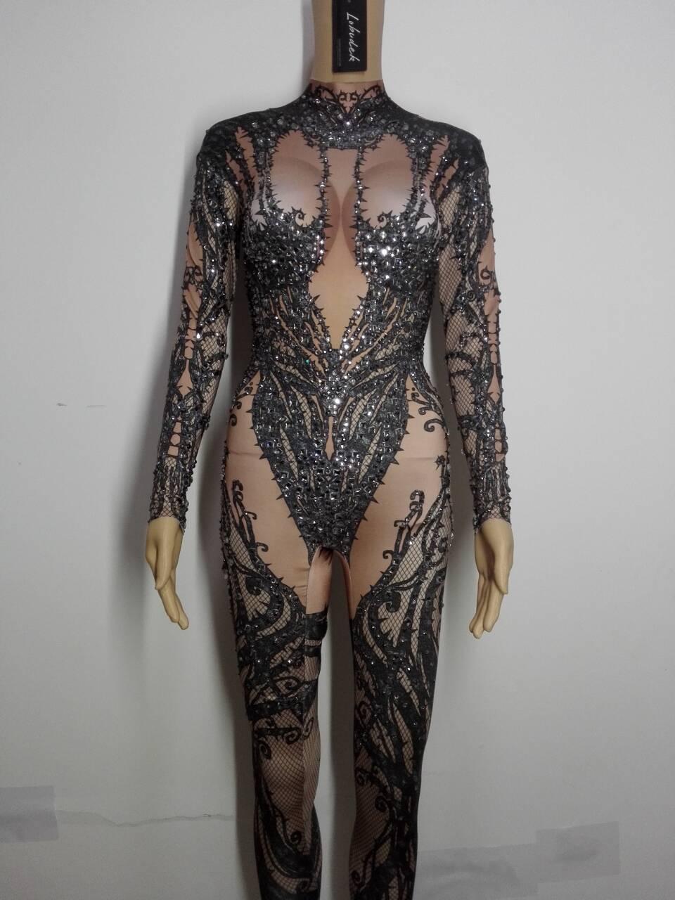 Élastique Noir Scène Scintillant Danse Femmes Chanteur Costume Discothèque Danseur Tenue Strass Cristaux De Body Justaucorps dvqTaqEw