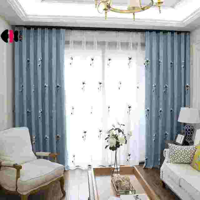 Top Fine Pastoral Tower Embroidery Cotton Flower Curtains Bedroom Livingroom  2018 Spring New Home Decor Treatment