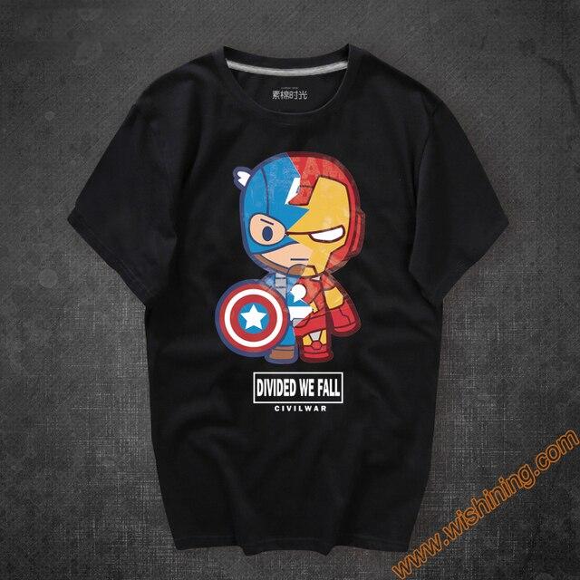 Kartun Desain Perang Saudara Superhero Captain America T Shirt Hitam