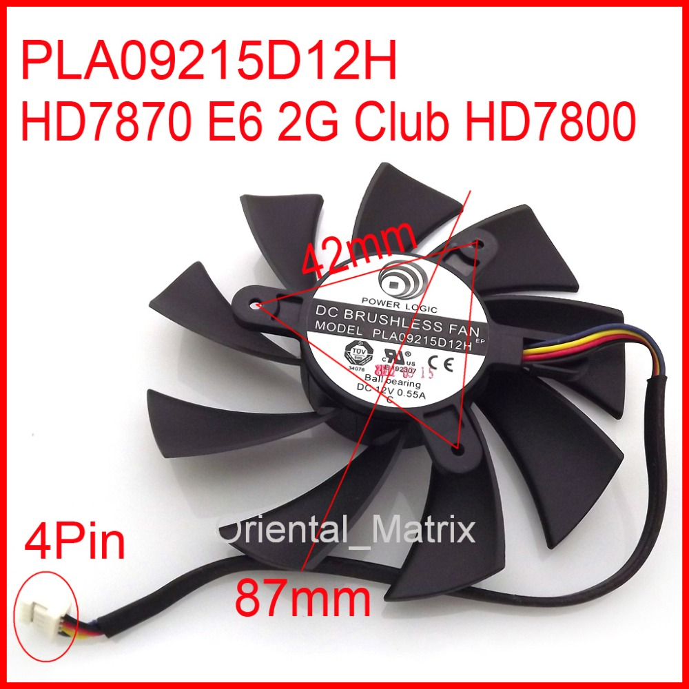 FOR PowerColor HD7870 E6 2G Club HD7800 Graphics Card Fan PLA09215D12H  87MM